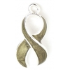 Pendant Cancer Curved Ribbon 23mm Gold